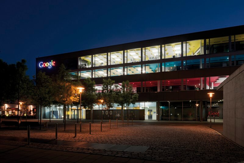 Google Zurich Headquartera at night