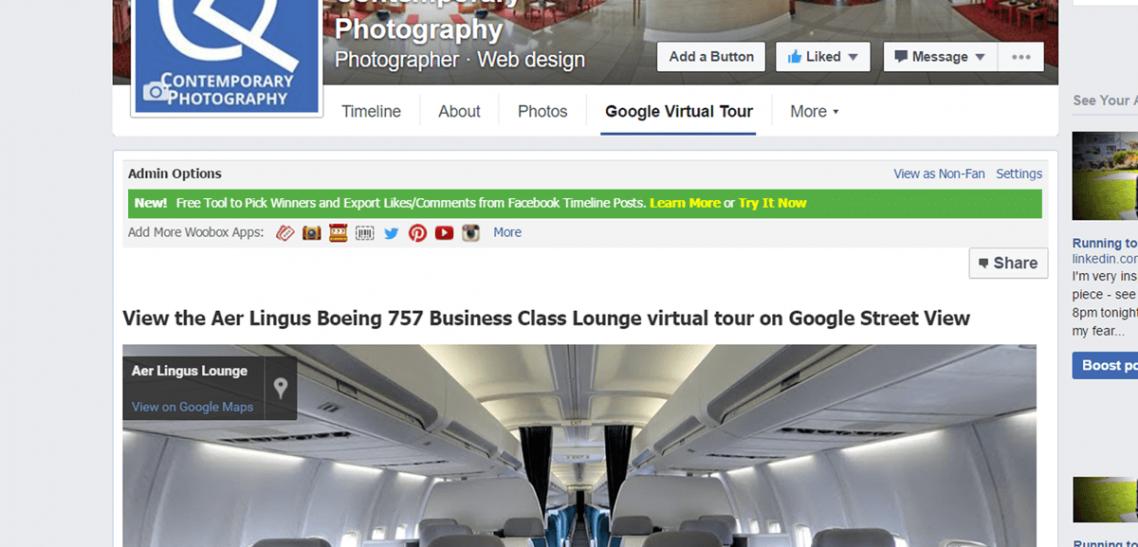 aer lingus google tour embedded in facebook